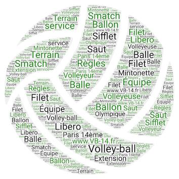 ballon de volley avec nuage de mots